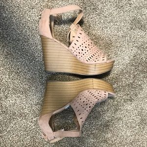 Suede Wedge Sandals Shoes 6